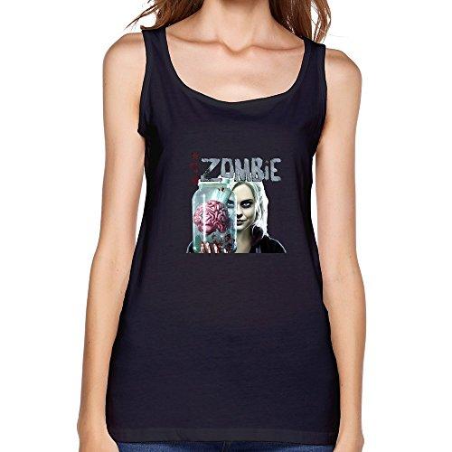 PTHF Women's Izombie Eat Brain Cotton Tank Tops Vest Black XXL