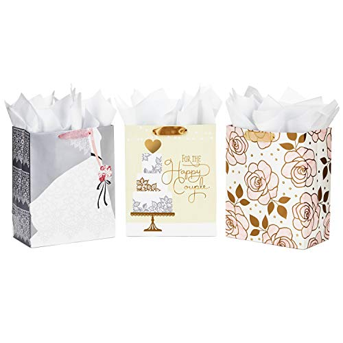 Hallmark Large Wedding Gift Bags Assortment with Tissue Paper (Pack of 3 Gift Bags for Engagements, Showers, and Weddings) ()