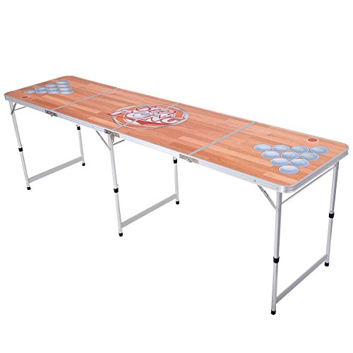 Giantex Foldable Aluminum 8' Folding Beer Pong Table Portable Outdoor Indoor Game - Beer Beer Table Table