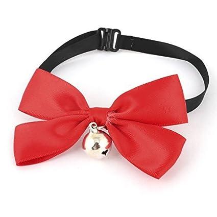 DealMux Pet Clip-On Instalação de Bell Decor bowknot gravata, Tamanho livre, Vermelho