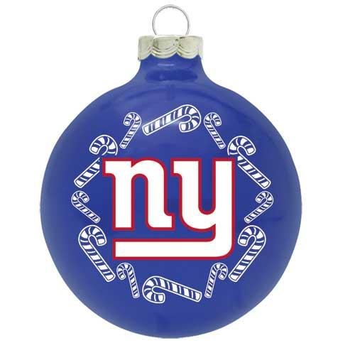 New York Giants 2 5/8'' Painted Round Candy Cane Christmas Tree Ornament (Ornament New York Glass Giants)