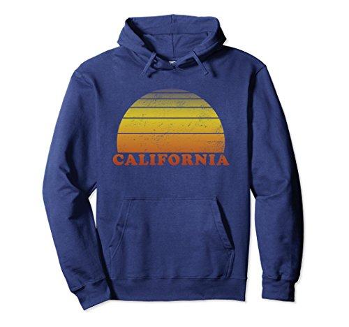 1970s Sweater Mens (Unisex California Retro Vintage 70s Throwback Surf Hoodie Medium Navy)