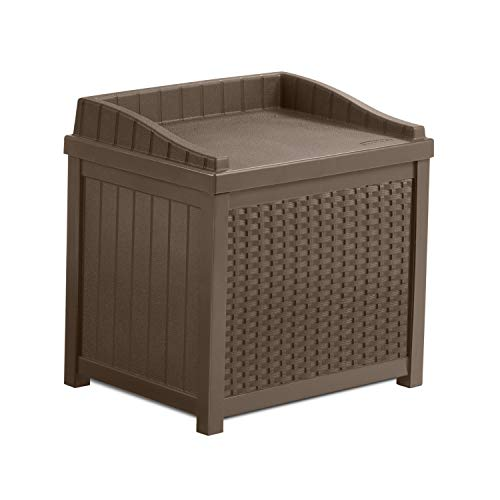 Suncast 22 Gallon Resin Wicker Indoor/Outdoor Storage Deck Box with Seat, Java