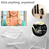 Hohaski Universal Non-Slip mats, Sticky Anti-Slip Gel Pads Easy Remove Stick to Car Golf Cart Boating Kitchen Cabinets etc Holds Cell Phones/Sunglasses/Speakers/Electronic Devices/GPS, 4 Pcs