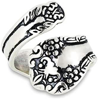 Sterling Silver Adjustable Oxidized Floral Spoon Style Ring