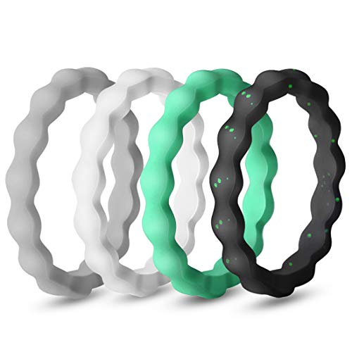QVOW Silicone Rings for Women, Thin, Affordable and Stackable Rubber Wedding Bands for Athletes, Workout, Fitness, Gym, Exercise, Gear Design, 4 Packs, 3.0mm Wide, Size: 5 (15.7mm)