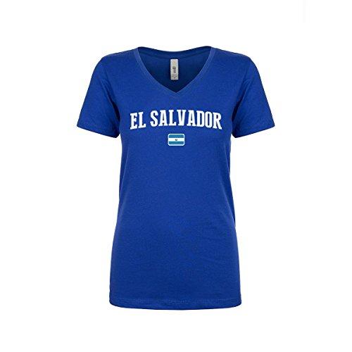 Salvador El Ladies (nobrand El Salvador Women's Flag National Pride Woman V-Neck Tee T-Shirt (Women Blue M))