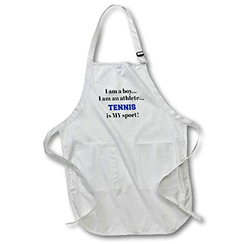Luv Letters Birds (3dRose Xander inspirational quotes - I am a boy, I am an athlete, tennis is my sport, black blue letters - Medium Length Apron with Pouch Pockets 22w x 24l (apr_265938_2))