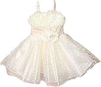 Petals4girls Elegant Party A Line Dress For Girls - 5 To 6 Years, Cream