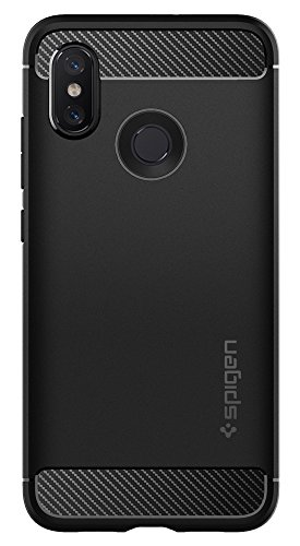 Spigen Rugged Armor Mi 8 Case with Flexible and Durable Shock Absorption with Carbon Fiber Design for Xiaomi Mi 8 (2018) - Black by Spigen (Image #1)