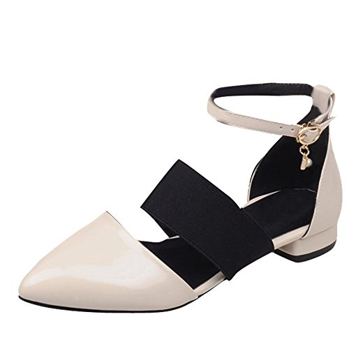 b15b41a73dfd Mee Shoes Damen modern beqeum populär spitz ankle strap Schnalle  Knöchelriemchen Geschlossen Niedrig Pumps Beige