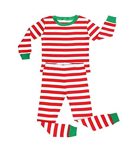 Pigiama Bambini a Abbinare da Abbigliamento Famiglia da Stripe Lunghe Rosso Natale Costume Verde Rosso Maniche zhbotaolang Notte Casa a10IWWn