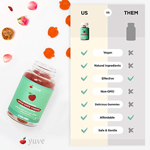 Yuve Vegan Apple Cider Vinegar Gummies - Immunity, Fast Detox & Weight Loss Support - Unfiltered Mother ACV - Superfood Supplement - Better than Capsules, Tablets & Pills - Non-GMO, Gluten-Free - 60ct