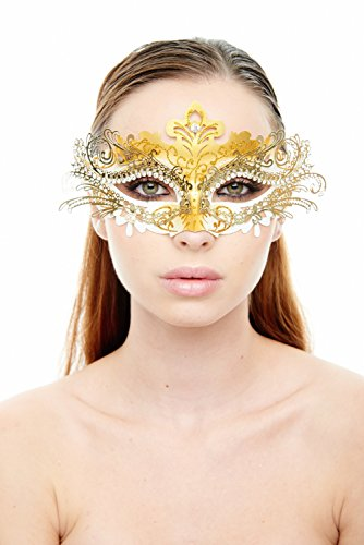 KAYSO INC Exclusive Eyes of Angel Laser Cut Masquerade Mask, White & Gold]()