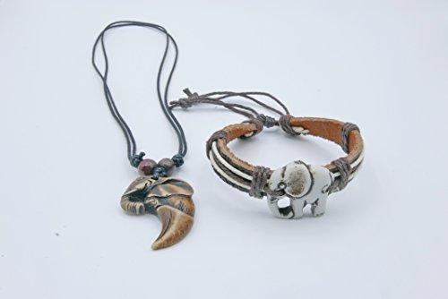 Authentic Elephant Thai Lucky Charm Animal Handmade Bracelet Necklace Accessories 2 PCS/Set