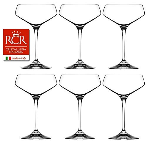 RCR Cristalleria Italiana Aria Collection 6 Piece Crystal Wine Glass Set (Champagne Coupe (11.25 ()