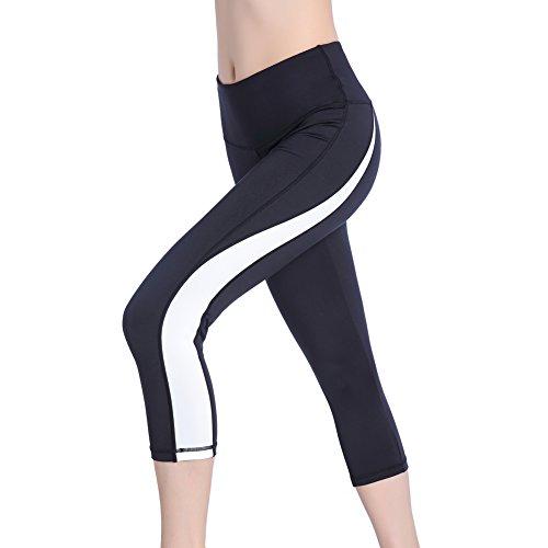 - Se Yo Women's Leggings High Waist Yoga Pants Pocket Running Workout Tights No See Through Capri Leggings (Large, 3/4 Leggings-Black/White)