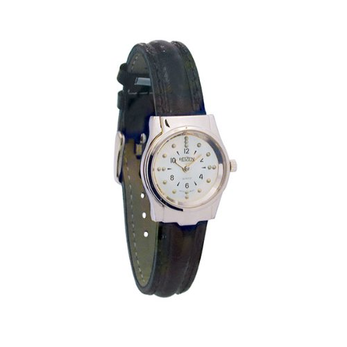 REIZEN Braille Womens Watch -Chrome, Leather Band Watch Chrome Leather Band