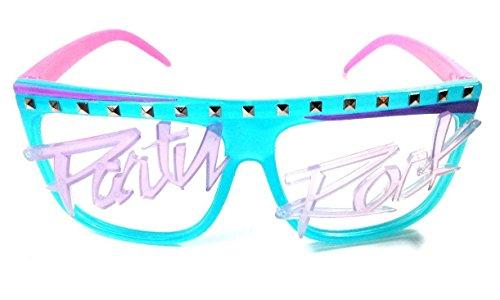 Glow in the Dark Party Rock Wayfarer Sunglasses Blue & Pink Frame Purple (Glow In The Dark Halloween Shirts)