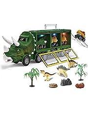 Dinosaurus-speelgoed, vrachtwagen met licht en muziek, dinosaurus, vrachtwagen met 3 afneembare dinosaurusvoertuigen, draagbare handgreep, beste dino-speelgoed, cadeau voor kinderen, jongens en meisjes van 3 tot 7 jaar