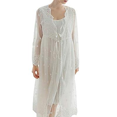 Women's Vintage Scoop Neck Pajama Set Sexy 2 Piece Victorian Nightgown Robe Set