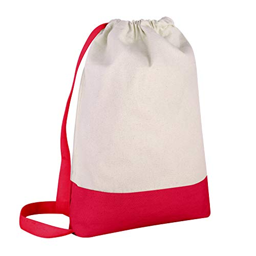 - Pack of 12 - Durable Canvas Backpack Bags Two Tone Canvas Sport Promotional Backpacks Bulk - Arts and Crafts Backpacks Sack packs with Adjustable Straps Wholesale Drawstring Bags (Red)