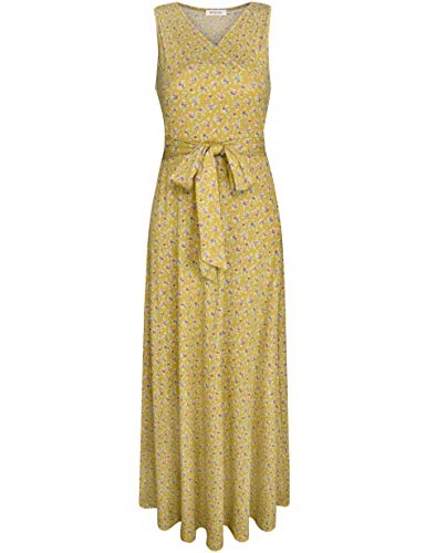 (Melynnco Women's Sleeveless V Neck Faux Wrap Casual Floral Long Maxi Dress Large Yellow Floral)