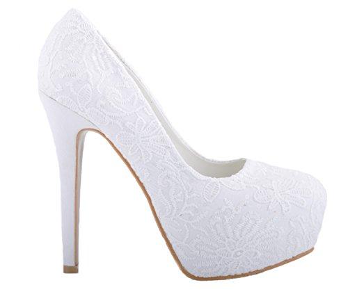 Blanc Casse Dentelle Talon Heuts Plate-forme Chaussures de Mariage