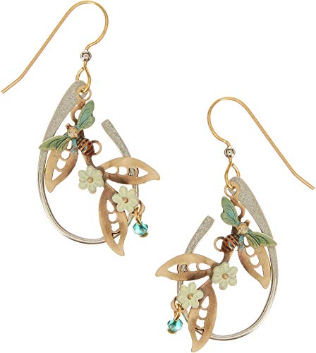 (Silver Forest Bee Flower Loop Earrings One Size Two tone/green)