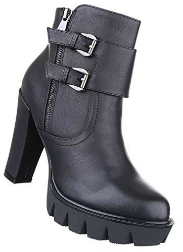 Damen Boots Stiefeletten Schuhe Plateau Schwarz 36 37 38 39 40 41 Modell Nr 1 Schwarz
