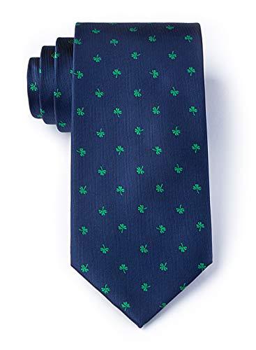 Men's Microfiber St Patrick's Irish Good Luck Shamrock Necktie Tie Neckwear (Navy Blue)