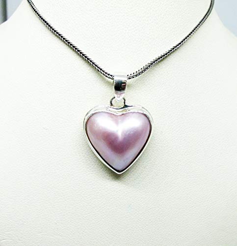 handmade 925 sterling silver pendant premium pink heart shape mabe pearl, pink mabe pearl pendant, genuine Pink mabe pearl necklace pendant