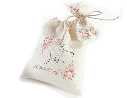 Custom party favors for guests - Personalized favor bags - Bulk wedding decorations - Vintage engagement souvenir bags 6 or 12 pcs