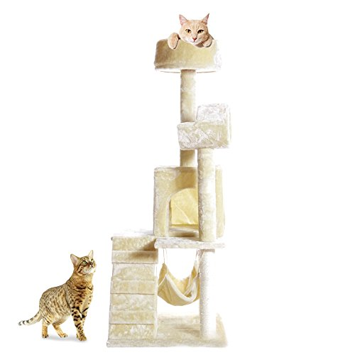 PET PALACE 51″ Cat Kitty Tree Scratcher Play House Condo Furniture Toy Bed Post House APL1064, Beige, Medium 4137BoyaRCL