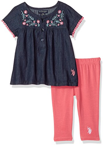 Mix Match Clothes (U.S. Polo Assn. Baby Girls Fashion Top and Legging Set, Button Placket and Rose Embro Camellia Rose, 18M)