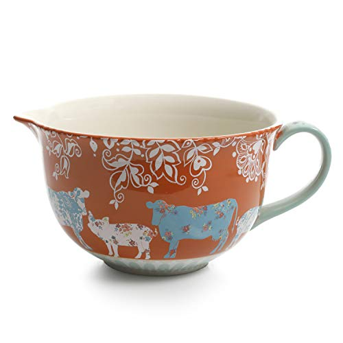 (Urban Market by Gibson 99857.01RM Life on the Farm 4 Quart, Batter, Decorated Bowl, Blue/Red)