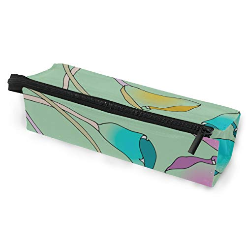 Pen Holder/Stationery Cosmetic Makeup Bag Pouch Round Case Calla Blue Floral Hand Drawn Romatic Minimalist Print Polyester Zipper Pencil Bag Multi-Function Glasses Storage Bag