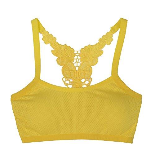 EFINNY Women Lace Yoga Bra Workout Racerback Sports Tank Top Stretch Padded Fitness Wear Yellow