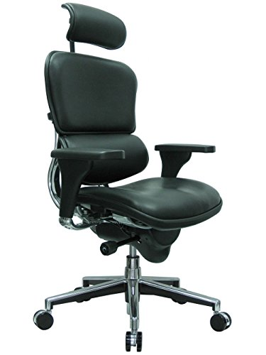 - High Back Ergonomic Chair with Headrest in Leather Black Leather/Chrome Frame Dimensions: 26