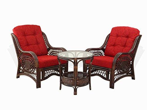 SunBear Furniture Malibu Living Set 2 Chairs Rattan Wicker ECO with Burgundy Cushions and Round Coffee Table w/Glass, Dark - Round Patio Table Eco