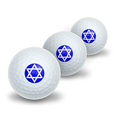 Star of David - Shield Jewish Novelty Golf Balls 3 Pack