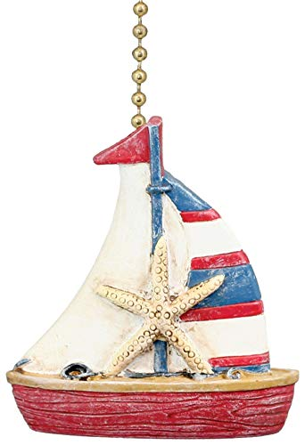 Clementine Design Nautical Coastal Sailboat Ceiling Fan Pull (Designs Whimsy Lamps)