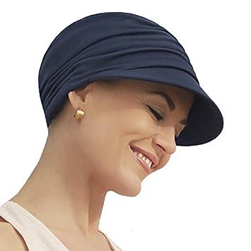 Gorra oncológica ultra transpirante Bella con visera y Technology 37.5® color azul oscuro para mujeres
