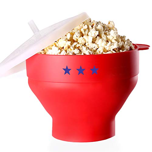 Microwave Popcorn Popper – Silicone BPA Free - The Original Pop Corn Hot Air Maker Collapsible Space Saving Bowl With Lid And Handles For Healthy Oil-Free Corn Kernels – Dishwasher Safe With Measurement Markings - FDA approved -