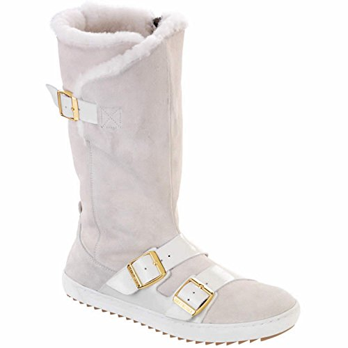 Birkenstock Women's Danbury Shearling Lined Boot White Suede/Patent Leather Size 40 M - Stores Danbury