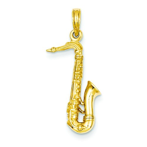 14K Yellow Gold 3D Saxophone Charm Music Pendant