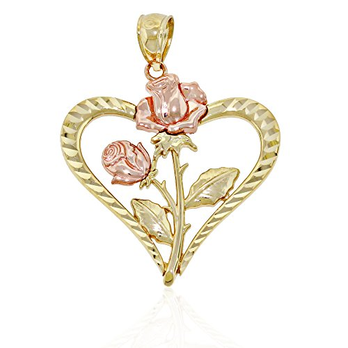 (Charm America Gold Roses inside Diamond-cut Heart Charm - 14 Karat Solid Gold)