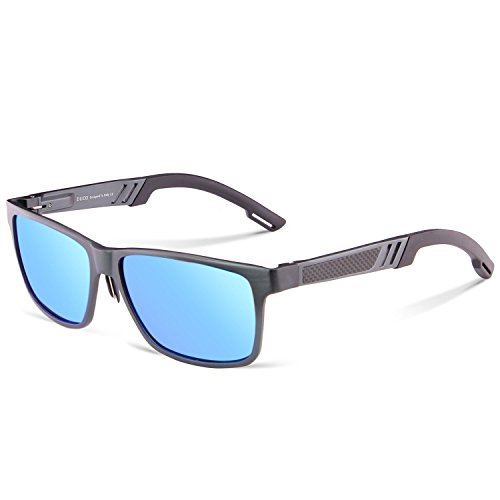 Duco Men's Sports Style Polarized Sunglasses Driver Glasses 2217 Gunmetal Frame Revo Blue - Men For Wide Bridge Nose Sunglasses