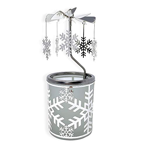 BANBERRY DESIGNS Snowflake Candle Holder - Spinning Snowflakes Rotate Around this Silver Frosted Glass Candle Holder - Scandinavian Design - Carousel Candle Holder ()