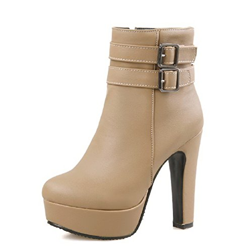 AllhqFashion Damen Niedriger Absatz Niedrig-Spitze Rein Stiefel mit Metallisch, Aprikosen Farbe, 33